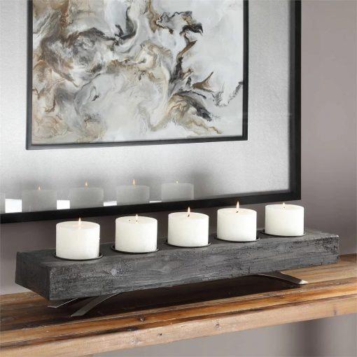 evanio 5 recessed candle cups wood candelabra