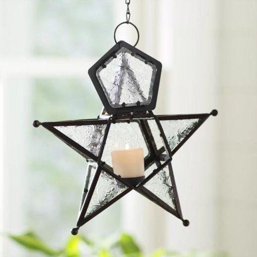 evanio bohemian clear star candle metal lantern