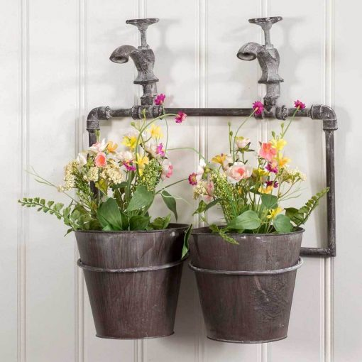 fabiana industrial two pot wall planter with spigots