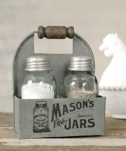 fantine mason jar box salt and pepper caddy with wood handle set of