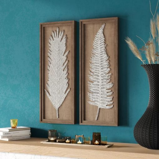 flora 2 piece distressed natural leaves framed wall decor set