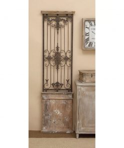 flora distressed combine iron and wood wall décor