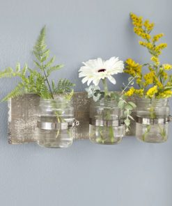 flora distressing three glass holder wood wall décor