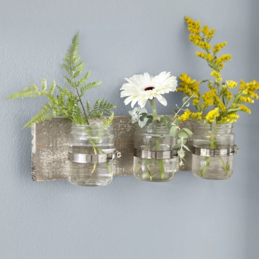 flora distressing three glass holder wood wall décor