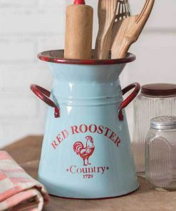 frye red rooster kitchen caddy pitcher with two handles
