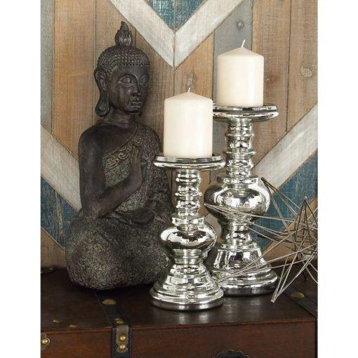 gabriela silver 2 piece glass candlestick set