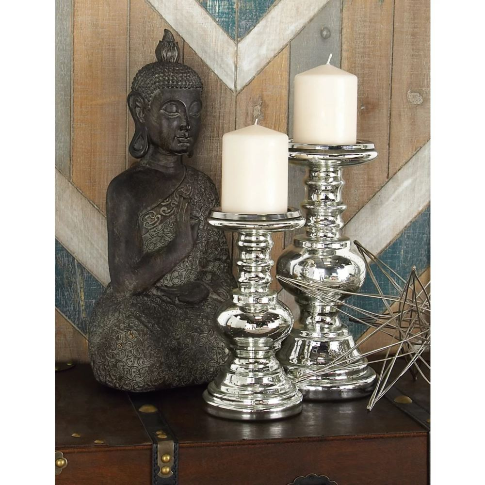 gabriela silver 2 piece glass candlestick set