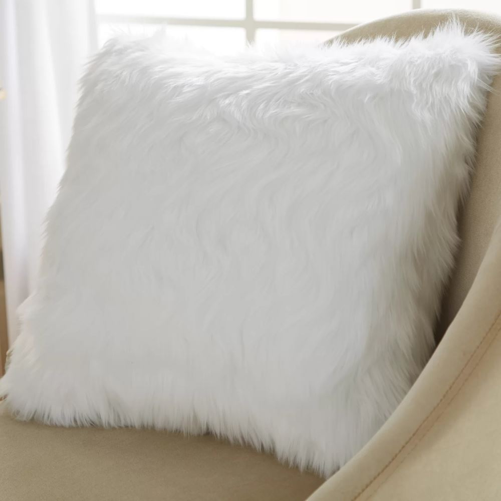 garrison 100 polyester and faux fur throw pillow