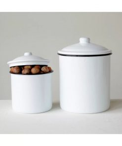 gemma white metal kitchen canister set of