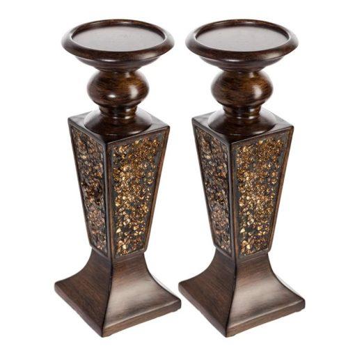 georgiana 2 piece decorative polyresin candlestick set