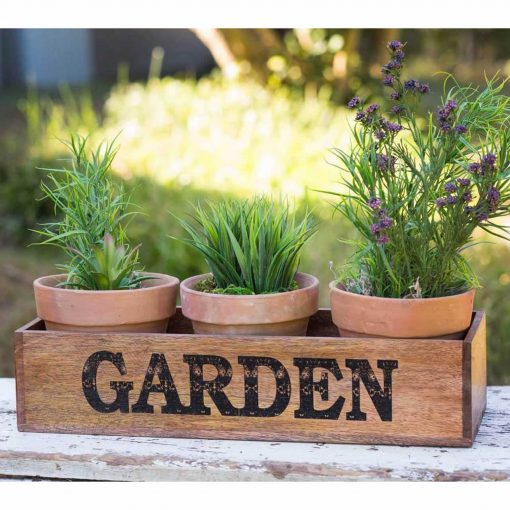 georgiana wooden garden caddy with three pots