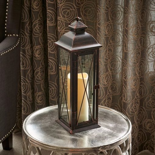 giselle antique brown glass sides and x shaped overlay lantern