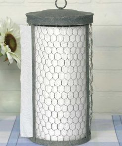 gray chicken wire paper towel holder