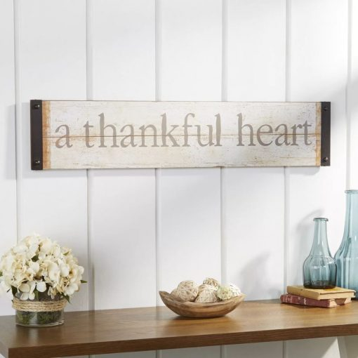 gray thankful heart wood wall decor