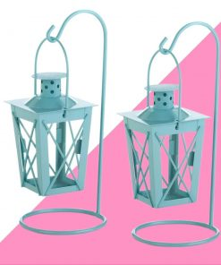 grayson 2 piece iron and glass lantern set