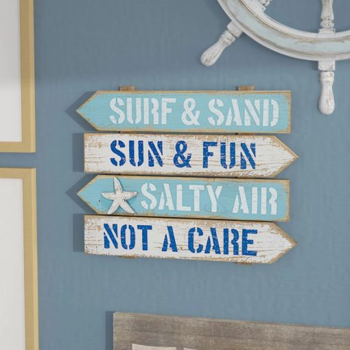 grayson distressed surf and sand arrow beach hanging wood wall décor