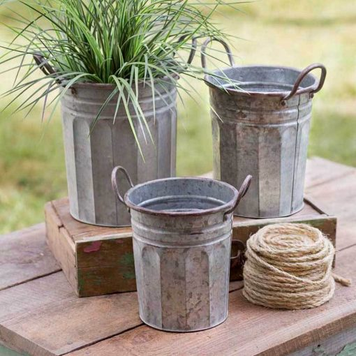 grayson galvanized tall garden pails with handles set of