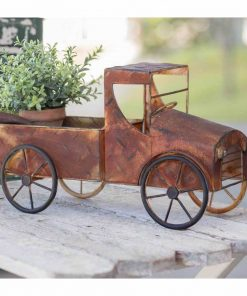 grazia mini dark red rusty pickup truck planter