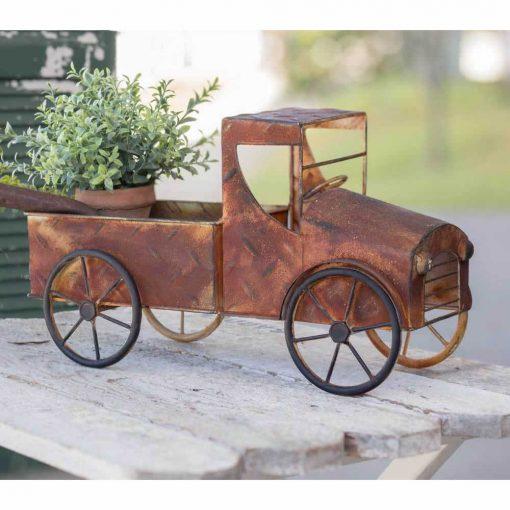 grazia mini dark red rusty pickup truck planter