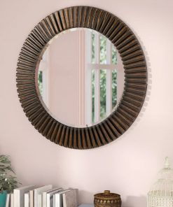guinevere round with deep ridge accent mirror