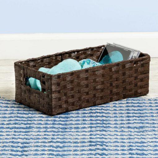 gwendolyn brown rectangle wicker basket