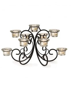 hadley 9 clear tea lights metal and glass candelabra