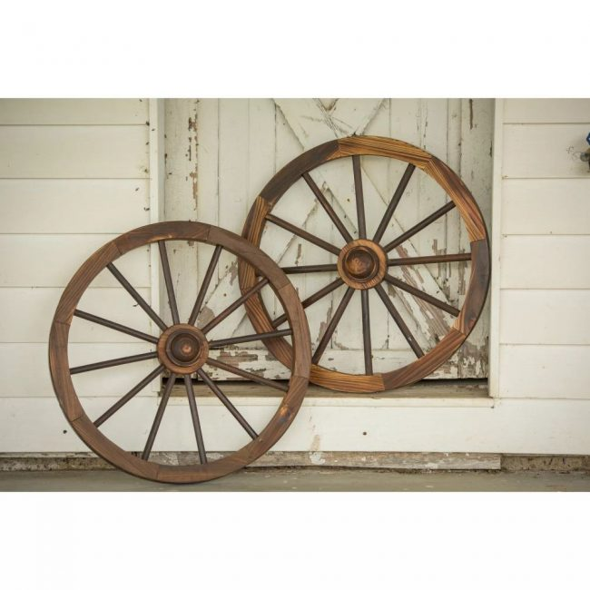 hana brown charred wagon wheel wall decor