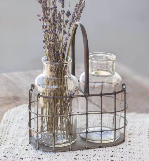 harlow farmhouse metal caddy with two glass bottles