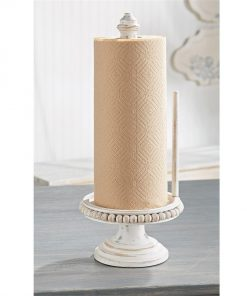 harper rustic beaded wood paper towel holder