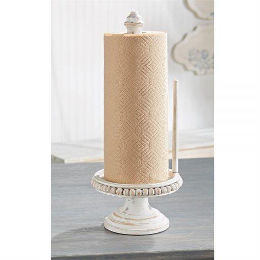 harper rustic beaded wood paper towel holder