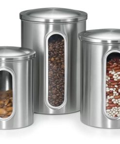 hayden stainless steel kitchen canister with vertical windows set of