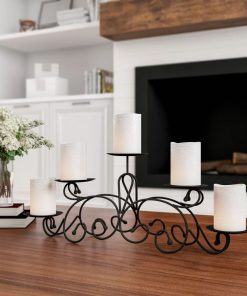 hollie metal 5 candle scroll candelabra