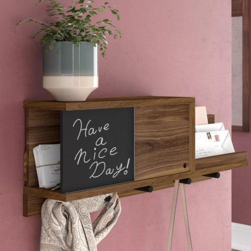hollis walnut wood wall mounted coat rack