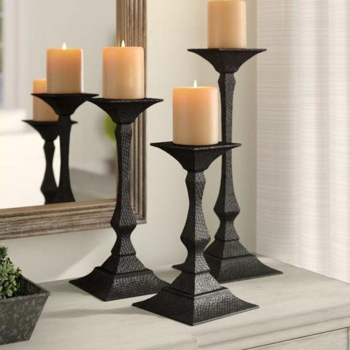 huxley hourglass 3 piece iron candlesticks holder set