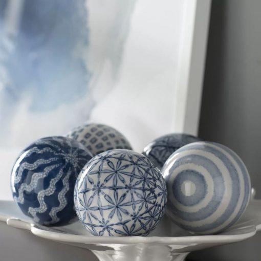 ibiza blue white 5 piece ceramic sculpture set