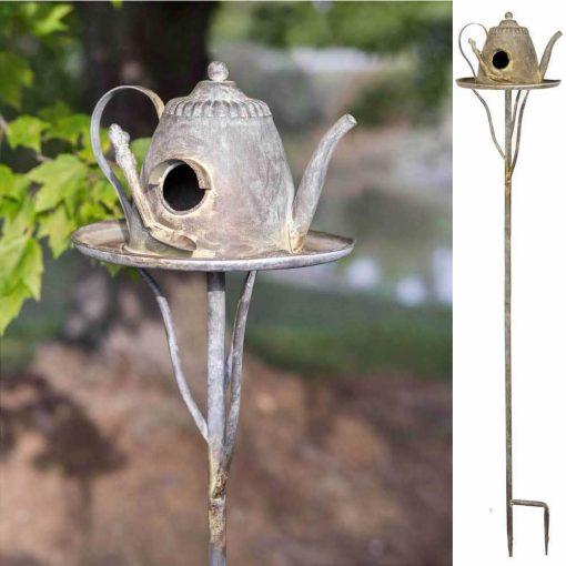 indigo iron teapot tall garden stake
