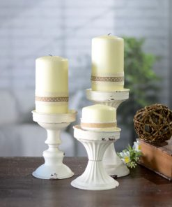 ines shabby 3 piece metal candlestick set