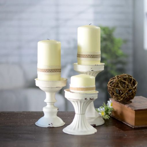 ines shabby 3 piece metal candlestick set