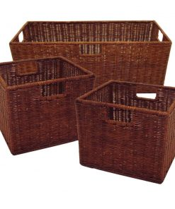 isabetta 3 piece mahogany brown storage basket set