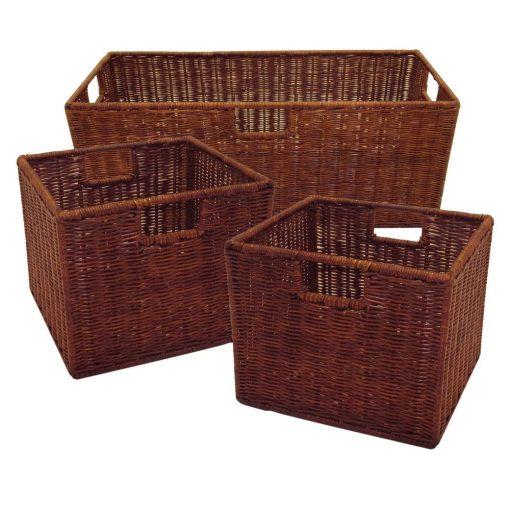 isabetta 3 piece mahogany brown storage basket set