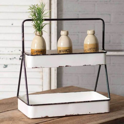 isabetta rustic white two tier tray