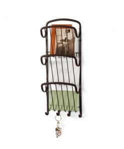 isadora 3 tiered wall storage organizer with key hooks