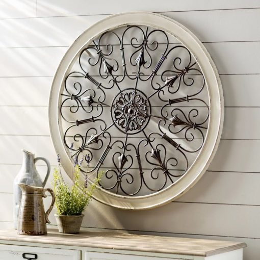 izabella architectural metal alloy scrollwork and wooden frame wall decor