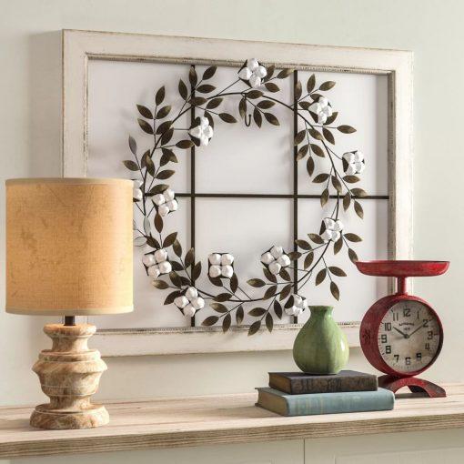 jacqueline floral wreath wood framed farmhouse wall décor