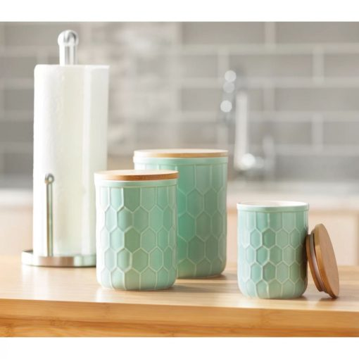 jacqueline scandinavian kitchen canister with wood lid set of