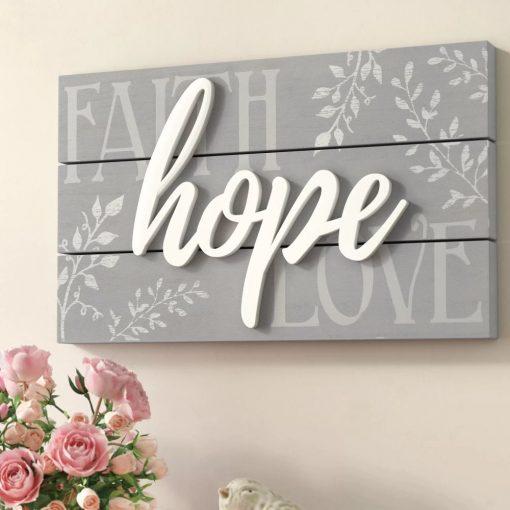 jaime faith hope love raised sign wall décor