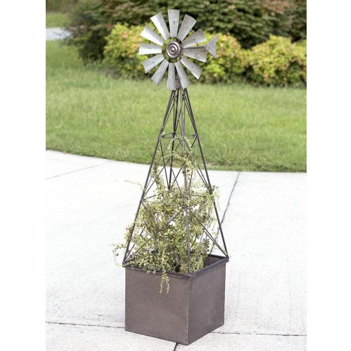 janou large galvanized windmill planter