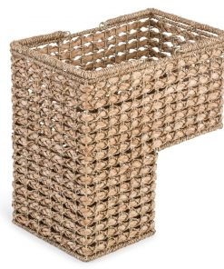 jaz brown braided rope storage stair basket with handles