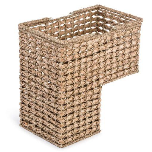 jaz brown braided rope storage stair basket with handles