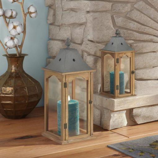 jeannie 2 piece glass panels and metal frame lantern set